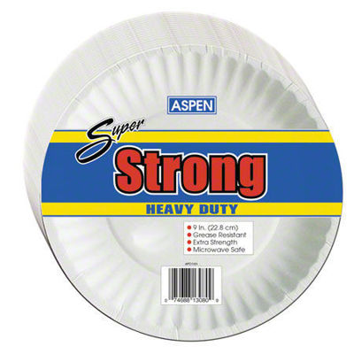 """Picture of SUPER STRONG 9"""" COATED PAPER PLATE - WHITE - 1/600 CASE"""