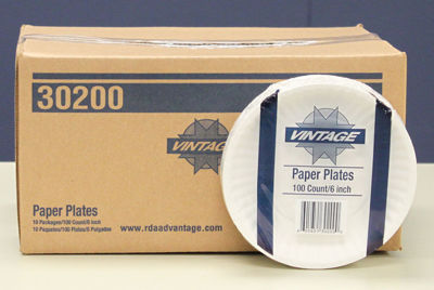 """Picture of VINTAGE 6"""" UNCOATED PAPER PLATE - WHITE - 10/100 CASE"""