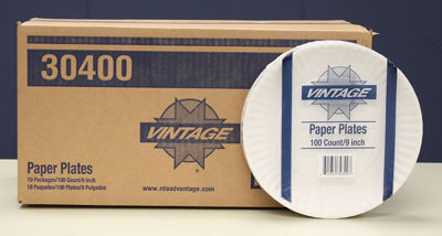 """Picture of VINTAGE 9"""" UNCOATED PAPER PLATE - WHITE - 10/100 CASE"""