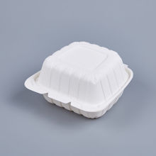 """Picture of PP WHITE HINGED CONTAINER - 6""""X6"""" -  150PCS/CS - 1 COMPARTMENT"""