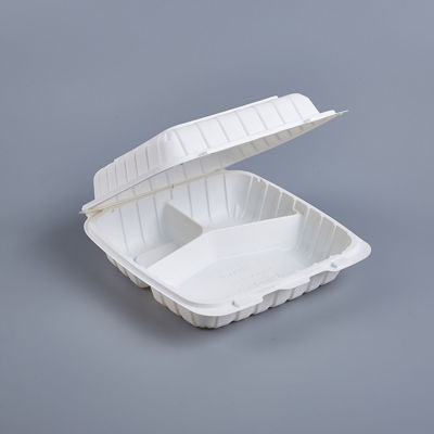 """Picture of PP WHITE 3 COMPARTMENT HINGED CONTAINER - 9""""X9"""" -  150PCS/CS"""
