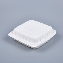 """Picture of PP WHITE HINGED CONTAINER - 9""""X9"""" -  150PCS/CS - 1 COMPARTMENT"""