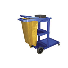 Picture of Blue Plastic Janitor Cart with Yellow Zipper 5-Bushel Bag